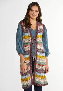 Multicolor Open Stitch Sweater Vest