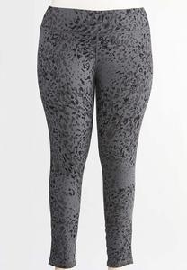 Plus Size Gray Leopard Leggings