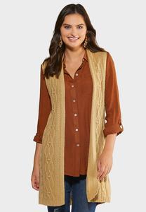 Plus Size Cable Front Sweater Vest