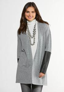Faux Leather Sleeve Cardigan