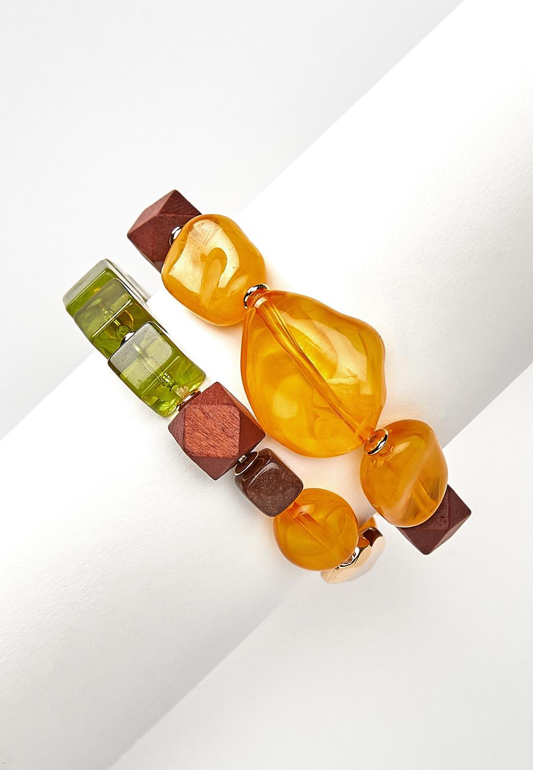 Acrylic Wood Bead Bracelet Set