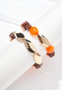 Wood And Acrylic Bead Bracelet Set