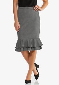 Plus Size Flounced Houndstooth Skirt