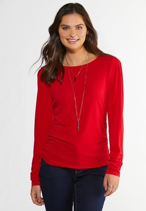 Plus Size Ruched Puff Sleeve Top