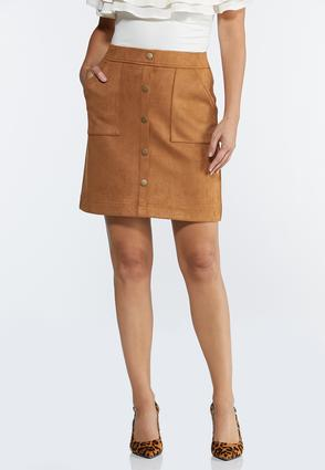 Plus Size Faux Suede Mini Skirt
