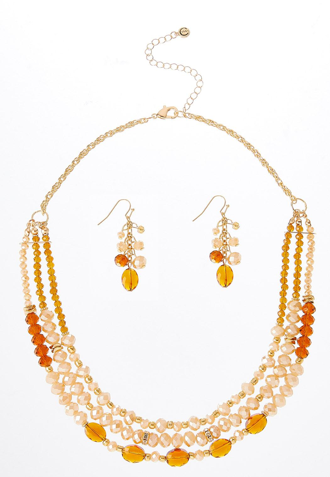 Citrine Bead Necklace Earring Set