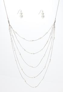 Layered Pearl Chain Necklace Earring Set