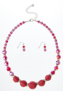 Thread Wrapped Rondelle Necklace Set