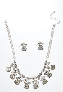 Faceted Glass Necklace Earring Set