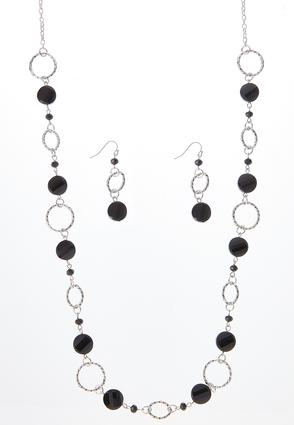 Long Bead Necklace Earring Set