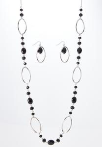 Oval Bead Necklace Earring Set