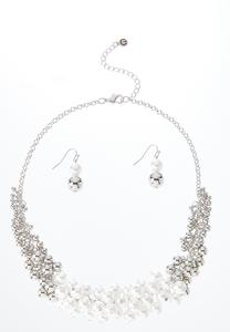 Pearl Bead Cluster Necklace Earring Set