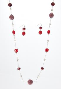 Cranberry Bead Necklace Earring Set