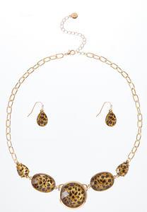 Leopard Earring Necklace Set