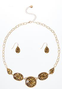 Leopard Earring Necklace Set