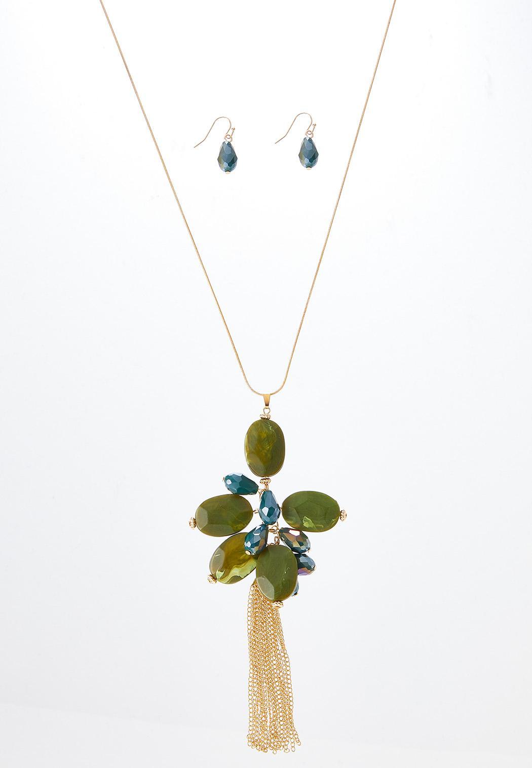 Cluster Bead Tassel Necklace Earring Set