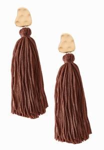 Hammered Post Tassel Earrings