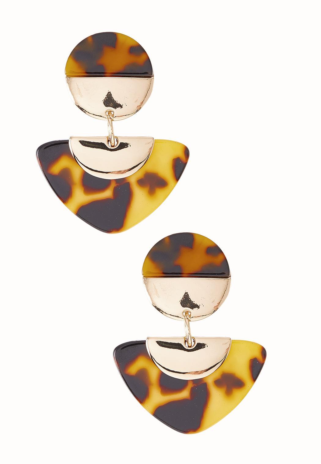 Tortoise Geo Clip-On Earrings