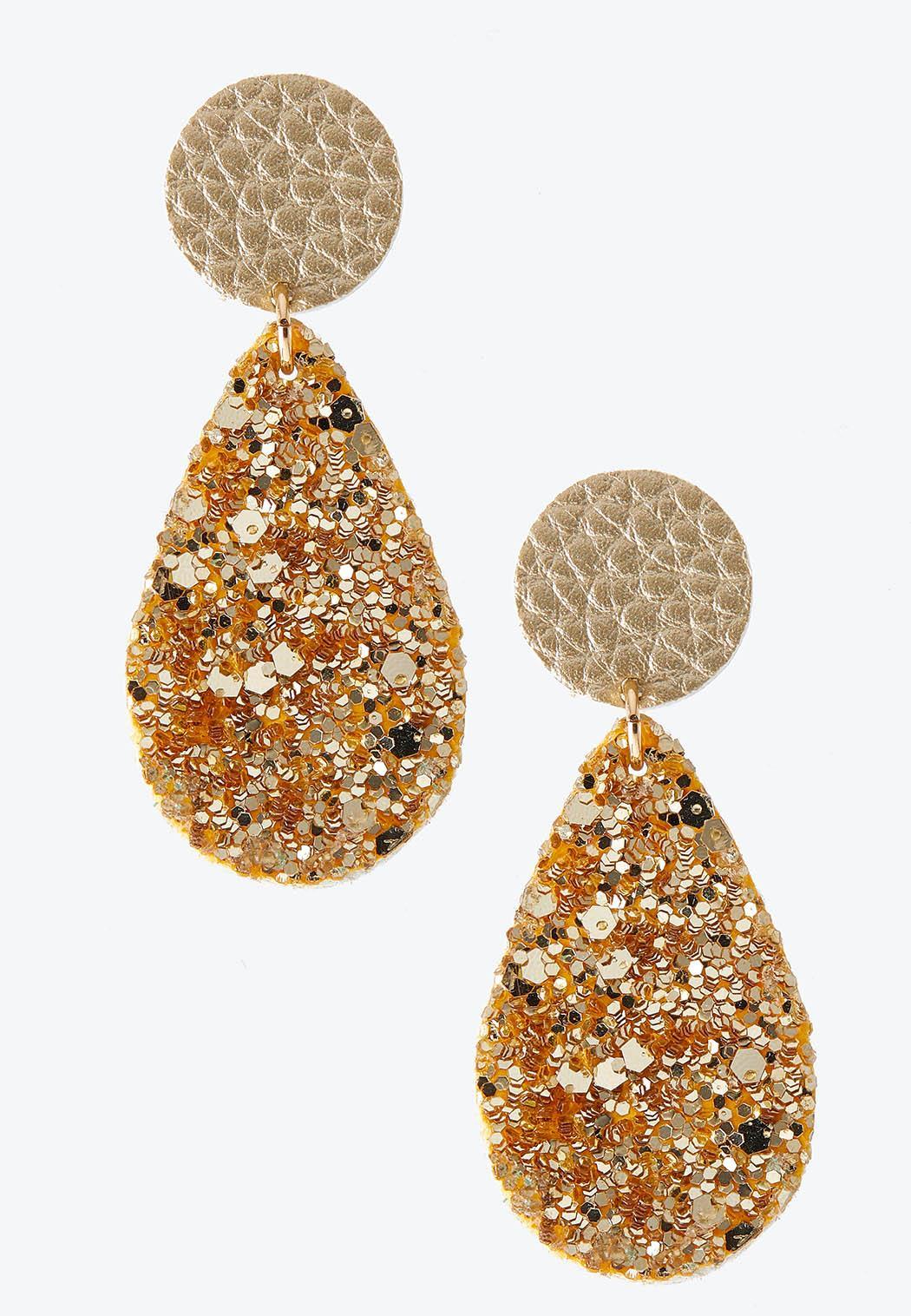 Glitter Tear Shaped Earrings
