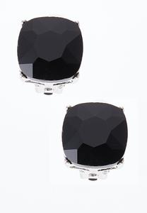 Faceted Glass Button Earrings