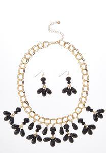 Glass Petal Necklace Earring Set
