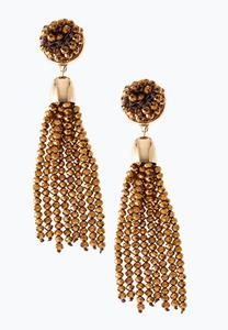 Bronze Beaded Tassel Earrings
