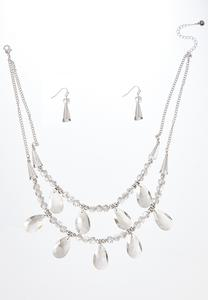 Glass Charm Layered Necklace Set