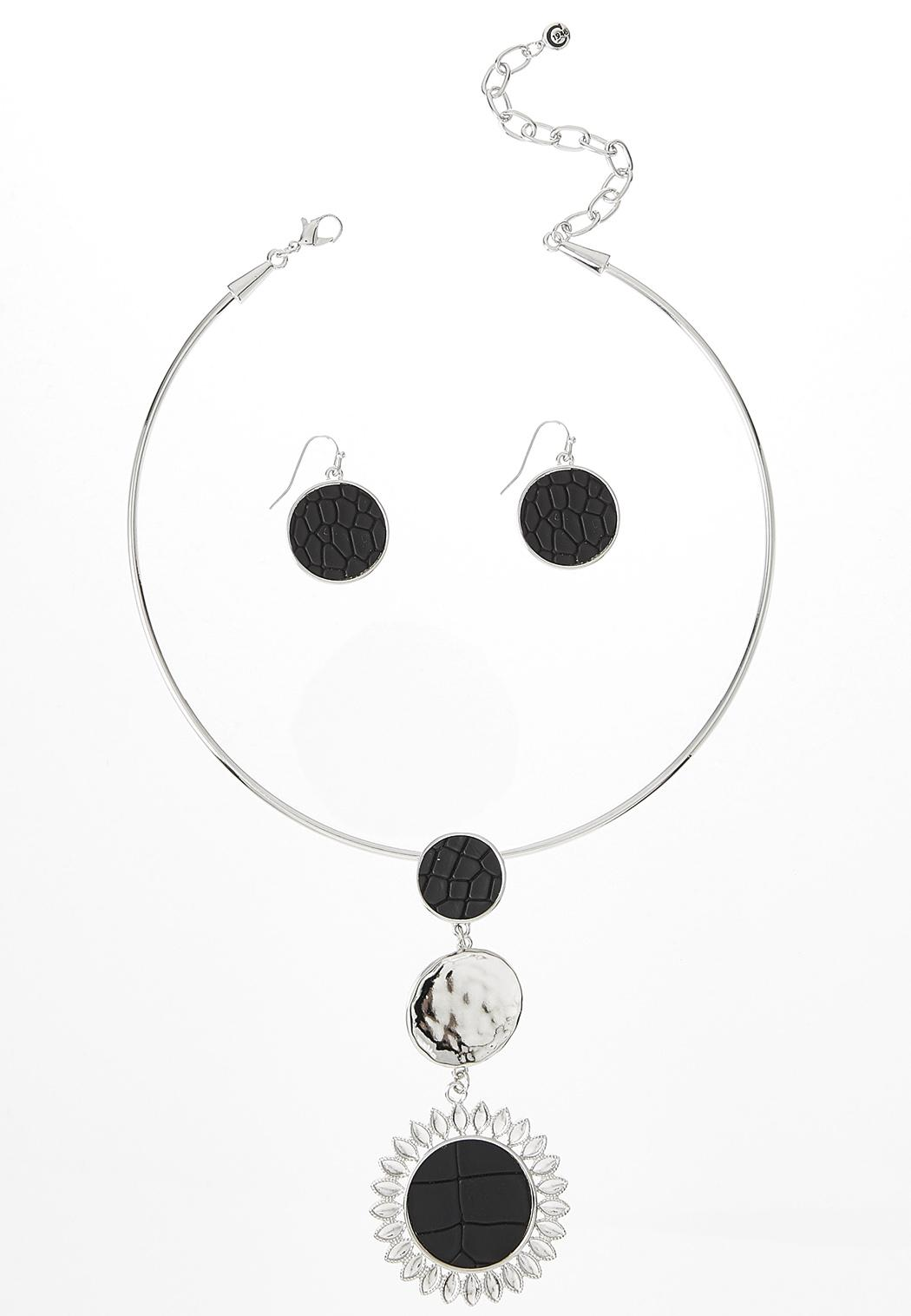 Crocodile Textured Necklace Earring Set
