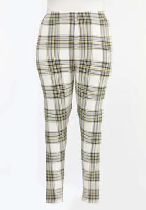 Plus Size Golden Plaid Leggings