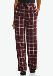 Wine Plaid Trouser Pants