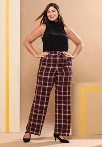 Plus Size Wine Plaid Trouser Pants