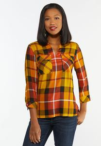 Plus Size Harvest Pullover Plaid Shirt