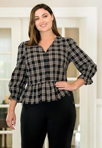Plus Size Checkered Peplum Top