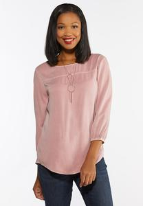 Plus Size Rose Button Back Top