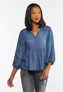 Plus Size Chambray Peplum Top