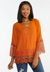 Plus Harvest Crochet Trim Top