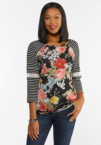 Floral Waffle Stripe Top