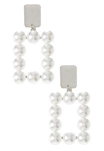 Square Pearl Clip-On Earrings