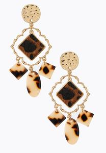 Hammered Gold Leopard Earrings