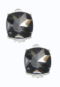 Shady Square Glass Clip-On Earrings