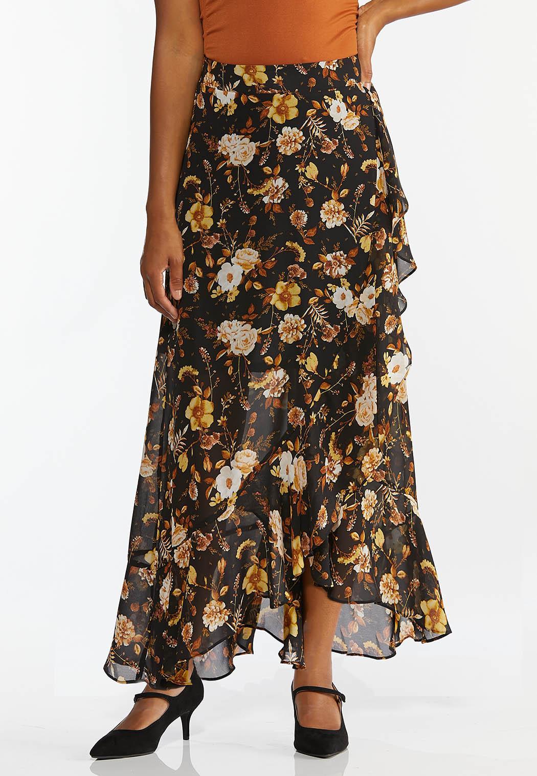Floral Faux Wrap Maxi Skirt