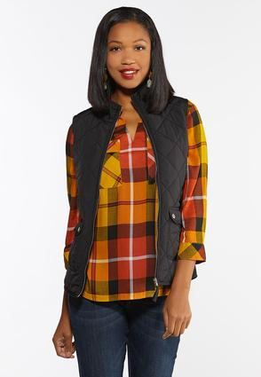 Plus Size Solid Puffer Vest