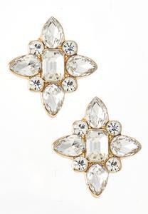 Rhinestone Star Button Earrings
