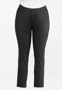 Plus Size Black Coated Skinny Jeans