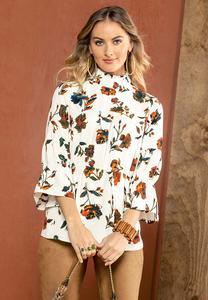 Plus Size Floral Mock Neck Poet Top