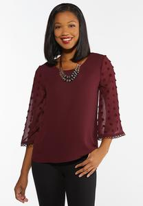 Plus Size Dotted Bell Sleeve Top