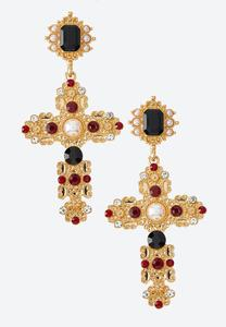 Vintage Jewel Cross Earrings