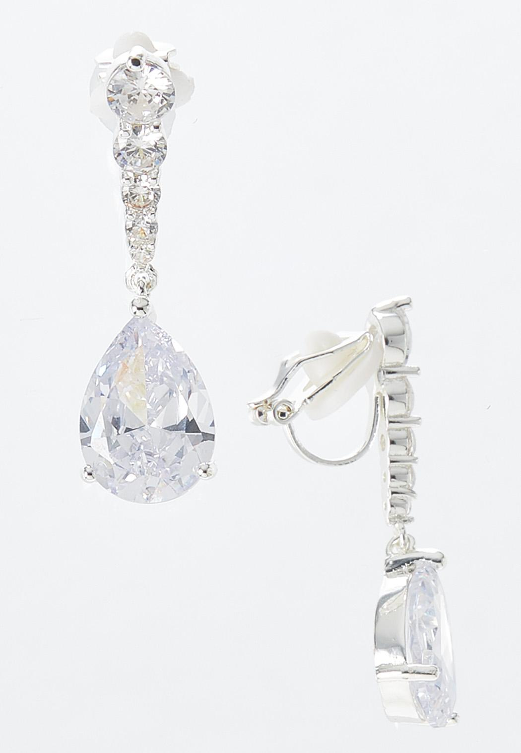 Rhinestone Pearl Clip-On Earrings