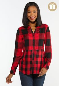 Plus Size Mixed Buffalo Plaid Shirt