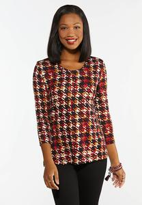 Merlot Houndstooth Top